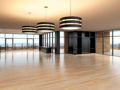 22930746 - empty room of business, or residence with a city background